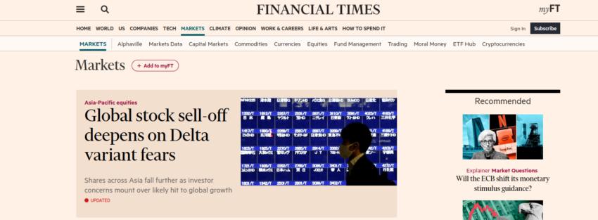 FT : site pur l'actualité de la bourse.